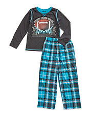 Two-Piece Football Plaid Sleep Set