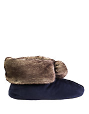 Signature Holiday Faux Fur Memory Foam Bootie Slippers