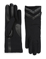 Leather-Accented Chevron Tech Gloves