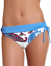 Paisley Side-Tie Hipster Swim Bottoms