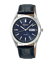Mens Solar Blue Dial Watch