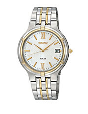 Mens Two-Tone Silver Dial Watch