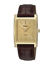 Mens Goldtone and Leather Solar Watch