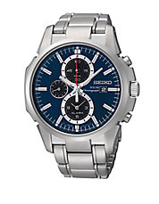 Mens Silvertone Solar Chronograph Watch