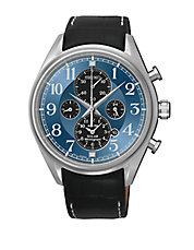 Mens Stainless Steel Solar Alarm Chronograph Watch with Leather Strap