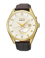 Mens Kinetic Retrograde Stainless Steel Watch with Leather Strap