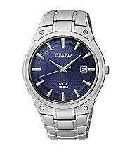 Mens Stainless Steel Round Watch with Navy Dial