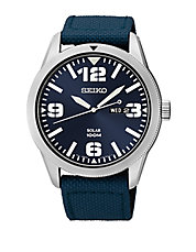 Mens Stainless Steel Watch with Navy Blue Nylon Strap