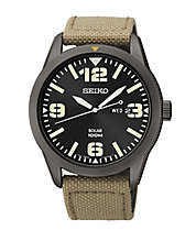 Mens Black Stainless Steel Watch with Beige Nylon Strap