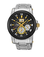 SNP129 Premier Kinetic Perpetual Black Bezel Stainless Steel Watch