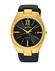 SNE876 Recraft Goldtone Stainless Steel and Black Leather Strap Watch