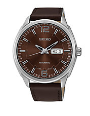 SNKN49 Recraft Automatic Stainless Steel Brown Leather Strap Watch
