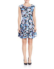 Floral-Print Drop-Waist Fit-and-Flare Dress