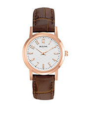 Ladies Rose Gold and Leather Watch