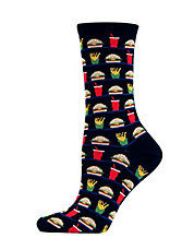 Hamburger and Fries Print Trouser Socks