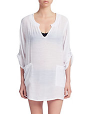 Roll Sleeve Split Neck Cover-Up Tunic
