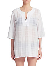 Split Neck Cotton Tunic Cover Up