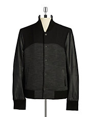 Faux Leather Paneled Baseball Jacket
