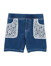 Girls 2-6x Lace Chambray Shorts