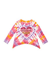 Girls 2-6x Tie Dye Asymmertical Tee