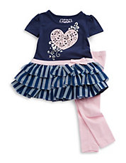Girls 2-6x Two-Piece Ruffled Dress and Leggings Se
