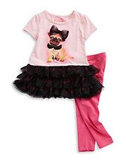 Girls 2-6x Two-Piece Posh Pug and Leggings Set