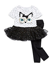 Girls 2-6x Two-Piece Polka Dot Cat Dress and Leggings Set