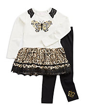 Girls 2-6x Two-Piece Animal Print Dress And Leggings Set