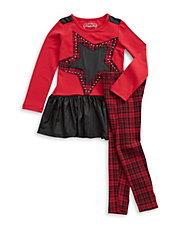 Girls 2-6x Two-Piece Plaid Dress And Leggings Set