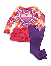 Girls 2-6x Two-Piece Tye-Dye Dress and Leggings Set