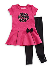Girls 2-6x Two-Piece Embossed Dress And Leggings Set
