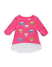Girls 2-6x Sequined Heart Top