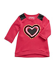 Girls 2-6x Faux Leather Heart Top