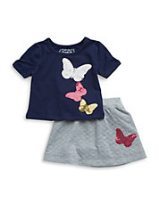 Girls 2-6x Two-Piece Sequined Butterfly Tee and Skirt Set
