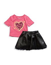 Girls 2-6x Two-Piece Tee and Leatherette Skirt Set