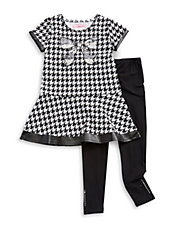 Girls 2-6x Two-Piece Houndstooth Dress And Leggings Set