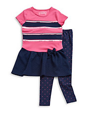 Girls 2-6x Two-Piece Sequined Dress And Leggings Set