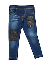 Girls 2-6x Denim Leatherette Patch Leggings