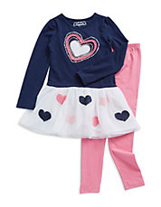 Girls 2-6x Two-Piece Heart Dress And Leggings Set