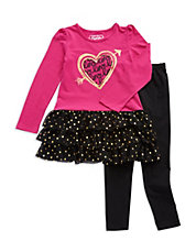 Girls 2-6x Two-Piece Love Dress And Leggings Set