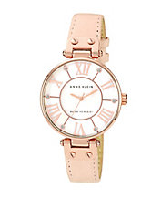 Ladies Peach Leather Watch