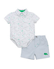 baby guess outlet 65eo  Babys Two-Piece Dinosaur-Print Bodysuit and Shorts Set