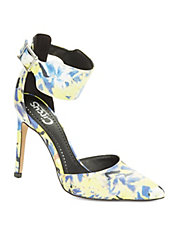 Maddy Floral Ankle Strap Pumps