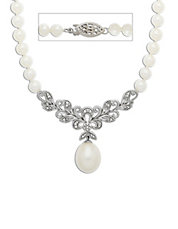 Sterling Silver Freshwater Pearl and Diamond Necklace