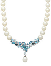 Sterling Silver Multi Blue Topaz Freshwater Pearl Necklace