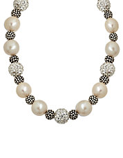 Sterling Silver Pearl and Crystal Necklace with Oxidized Beads