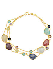 14 Kt. Yellow Gold Multi Stone Necklace
