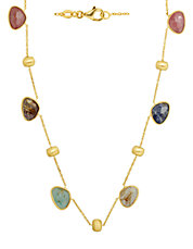 14Kt. Yellow Gold Multi Stone Necklace