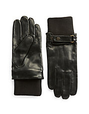 Knit-Cuff Leather Driving Gloves