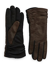 Brown Ruched Gloves
